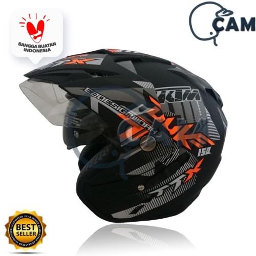 Foto Produk Helm 2 kaca (Double Visor) Murah Black doff Orange DUKE DMN dari Boss helm