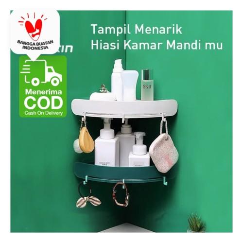 Foto Produk Rak Toilet Shampo Sabun Dinding Tembok Sudut Rumah Kamar Mandi Dapur - Hijau dari SUNXIN