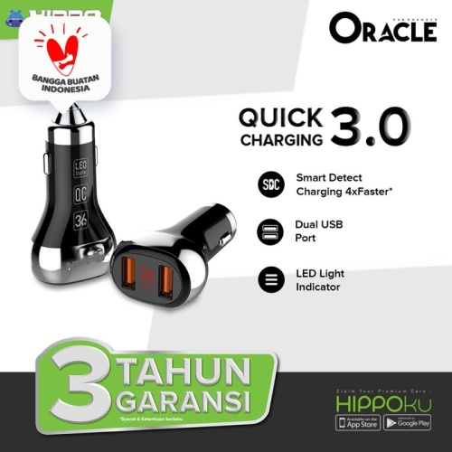 Foto Produk Hippo Oracle Car Charger Mobil Quick Charge 3.0 With LED Indicator - Hitam dari Hippo Official Store