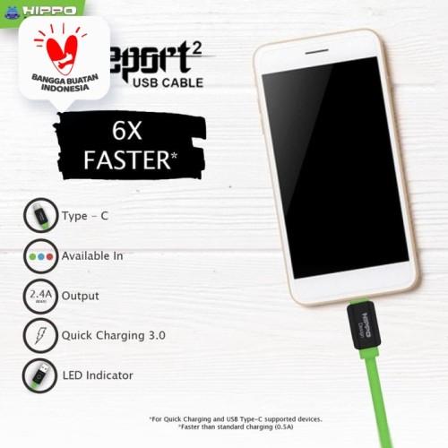 Foto Produk HIPPO Teleport 2 USB TYPE C 200 CM kabel Data Kabel Charger dari Hippo Official Store