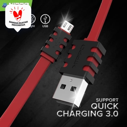 Foto Produk Hippo Caby 3 Kabel Data Charger Micro USB 100cm Support QC 3.0 - Hitam dari Hippo Official Store