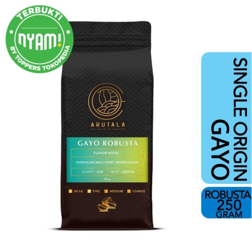 Foto Produk ARUTALA Kopi Robusta Gayo Coffee 250 gram - Giling Halus dari Arutala Online Co.
