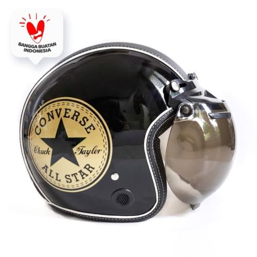 Foto Produk Helm Bogo Retro JMC Motif Converse Gold Hitam Semi Leather SNI - Kaca Bogo Biasa dari JMC Helmet