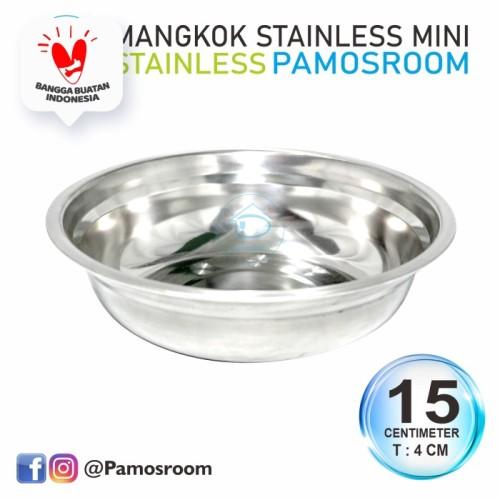 Foto Produk Pamosroom Mangkok Stainless Mini Tempat Sambal Baskom Cuci Tangan 15cm dari Pamosroom Living