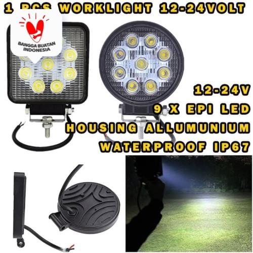 Foto Produk LED WORKLIGHT 27W WORK LIGHT LAMPU TEMBAK LAMPU SOROT 27W 12-24 VOLT - BULAT dari Modifikasi Market