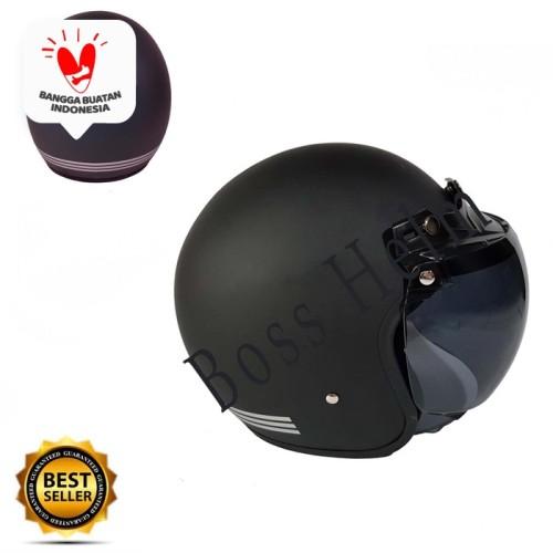 Foto Produk Helm Motor SNI Bogo Retro list black doff + kaca ava original dari Boss helm