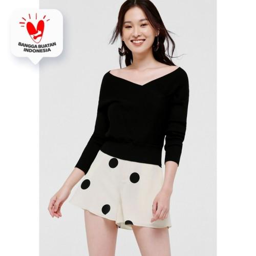 Foto Produk Gabrielle Polka Dot High Waist Shorts - Off White - XS dari Love, Bonito Indonesia