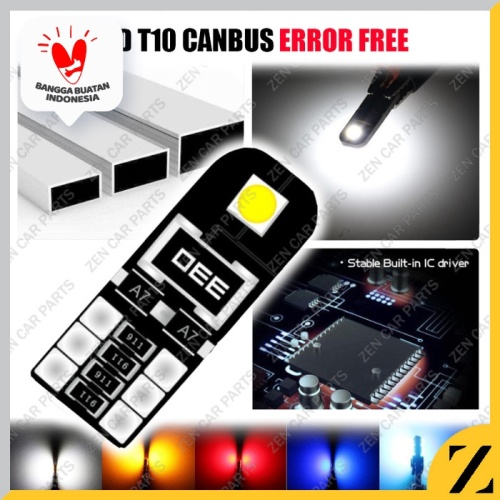 Foto Produk LAMPU LED T10 ERROR FREE W5W CANBUS BLACK 2 SISI SUPER BRIGHT CHIP SMD - Putih dari Zen Car Parts