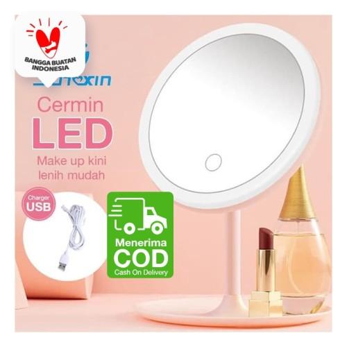 Foto Produk CERMIN MAKEUP dengan lampu LED dengan USB Charger - Merah Muda dari SUNXIN