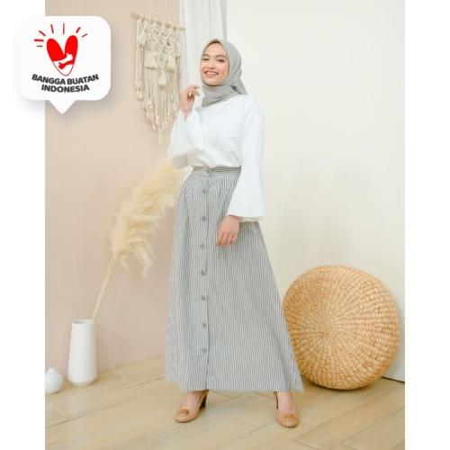 Foto Produk Rok Korean Stripe (Skirt Only) - Glacier Blue dari DRESSSOFIA