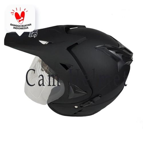 Foto Produk Helm 2 kaca semi cross black doff polos bukan jpx ink nhk bxp dari Boss helm
