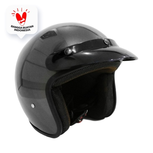 Foto Produk Helm Bogo Retro Pet Polos Abu-Abu SNI dari JMC Helmet