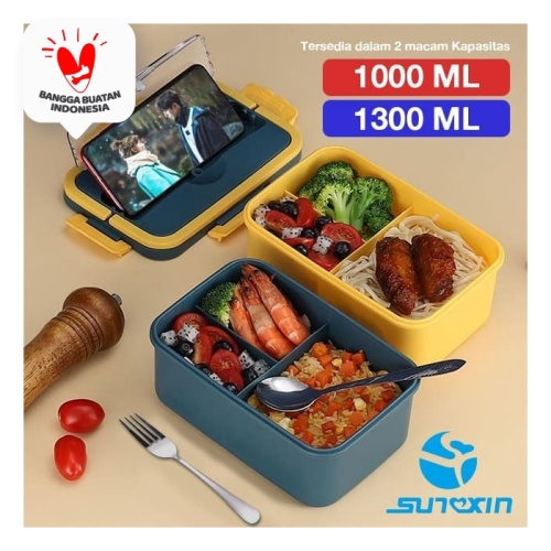 Foto Produk Lunch Box / Kotak Tempat Makan / BPA Free / FREE SENDOK GARPU 1300ML - 2B Kuning dari SUNXIN