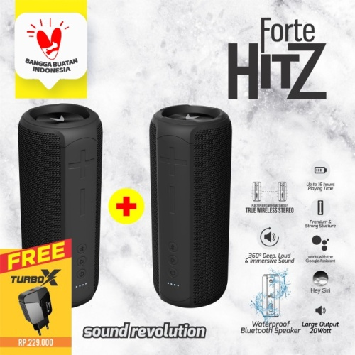 Foto Produk VYATTA BUNDLE FORTE HITZ TWS BLUETOOTH SPEAKER 20W+2 BASS, WATERPROOF - Hitam dari VYATTA INDONESIA