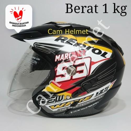 Foto Produk Helm 2 kaca (Double Visor) Murah Black doff Marquez Repsol Honda DMN dari Boss helm