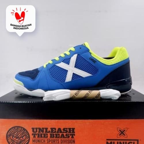 Foto Produk Sepatu Futsal Munich One Indoor 28 Blue Navy Neon 3071028 Original - 41 dari KING OF DRIBBLE