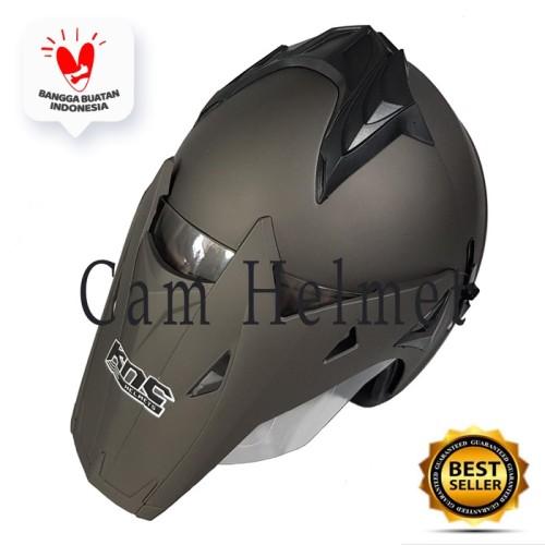 Foto Produk Helm Motor SNI 2 kaca semi KNC Trail cross Grey doff bukan JPX dari Boss helm