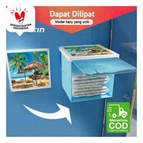 Foto Produk Lemari Kabinet Lipat Model Lukisan Rak Dinding Rak Kamar Mandi Hidden - Motif A dari SUNXIN