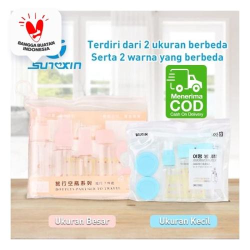 Foto Produk 7 in 1 Travel Toiletries Kit Set Botol Kecil Berpergian 1 set isi 7 - Merah Muda, Ukuran Besar dari SUNXIN