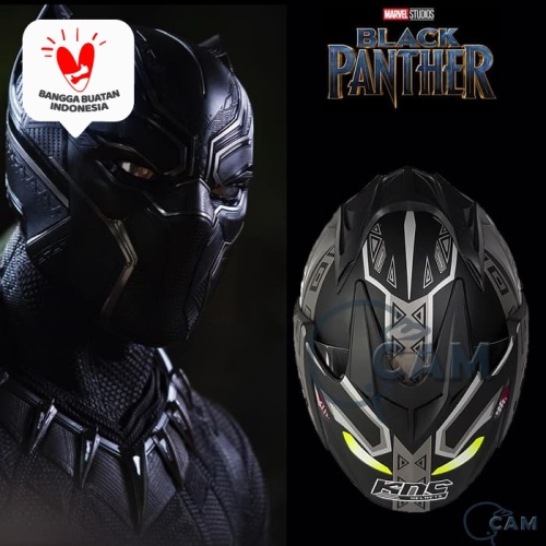 Foto Produk Helm DMN KNC Black panther Black doff Silver JP-7 dari Boss helm