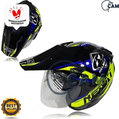Foto Produk Helm Motor SNi 2 kaca knc trail cross nenki black gloss yellow not jpx dari Boss helm
