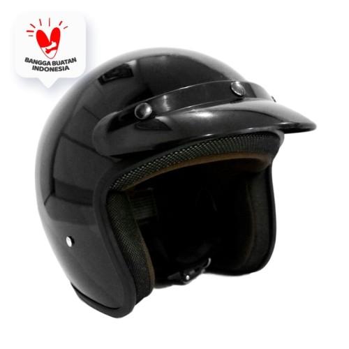 Foto Produk Helm Bogo Retro Pet Polos Hitam SNI dari JMC Helmet