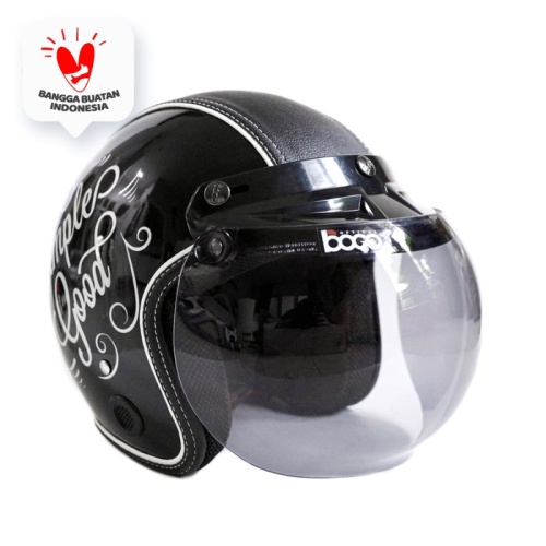 Foto Produk Helm Bogo Retro JMC Motif Simple Is Good Hitam SNI - Bogo Original dari JMC Helmet