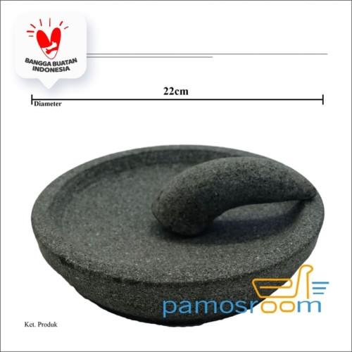Foto Produk Pamosroom Cobek Batu & Ulekan Tempat Ulek Cabe Sambal Bumbu Dapur 22cm dari Pamosroom Living