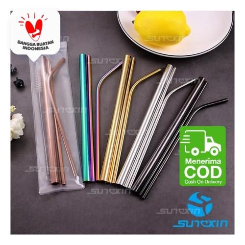 Foto Produk Sunxin - Sedotan Besi Stainless Steel Reuseable Straw Sedotan Minuman - Gold dari SUNXIN