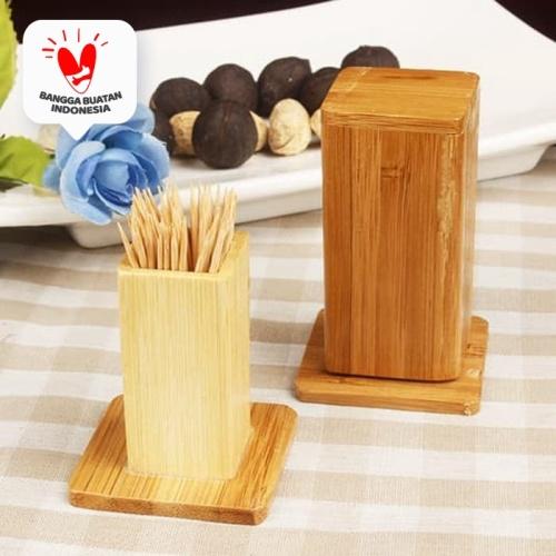 Foto Produk Kaba   penyimpanan tempat kotak tusuk gigi kayu toothpick holder murah dari Mendekor