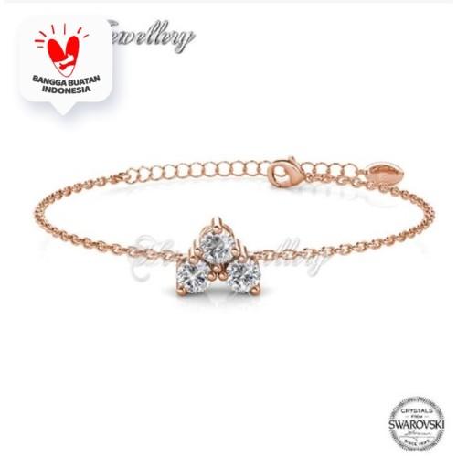 Foto Produk Troika Bracelet - Gelang Crystal Swarovski by Her Jewellery - Rose Gold dari Her Jewellery