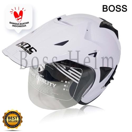 Foto Produk Helm motor sni 2 kaca KNC Trail cross White bukan nhk kyt dari Boss helm