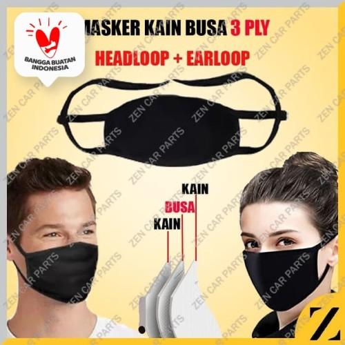 Foto Produk Masker Kain Busa Mulut 3 ply Filter Hijab Scuba Korea Debu Virus Tali dari Zen Car Parts