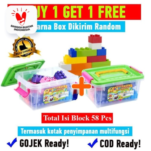 Foto Produk Buy 1 Get 1 Free Creative Block Container Mainan Edukasi Anak OCT9217 dari Ocean Toy Indo
