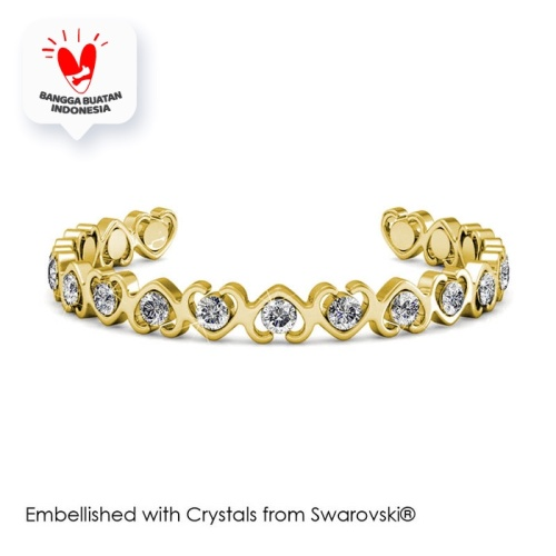 Foto Produk Simply Love Bangle - Gelang Crystal Swarovski® by Her Jewellery - Yellow Gold dari Her Jewellery