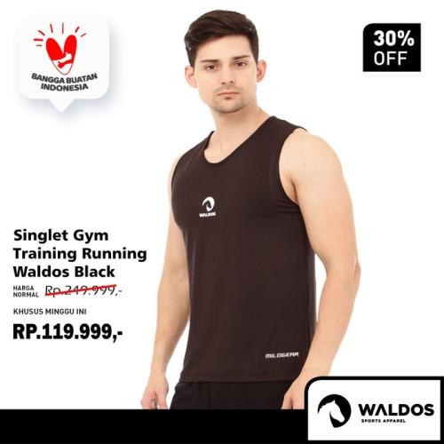Foto Produk Singlet Running Training Gym Waldos Black - Hitam, M dari Waldos Sports Apparel