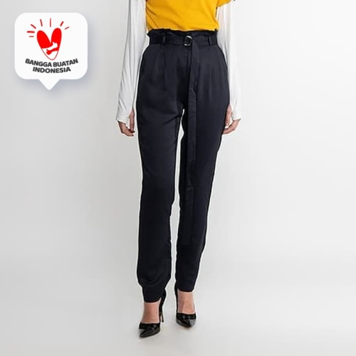 Foto Produk JENAHARA High Waisted Pants with Pleated Blue Black - Blue Black, M dari JENAHARA OFFICIAL