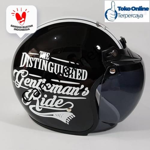 Foto Produk helm Bogo Gentlement Black Gloss + kaca AVA Original Bukan cargloss dari Boss helm