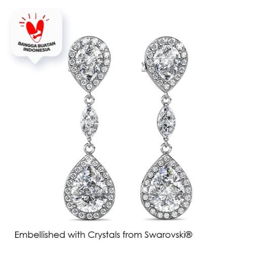 Foto Produk Layla Drop Earrings - Anting Crystal Swarovski® by Her Jewellery - White Gold dari Her Jewellery