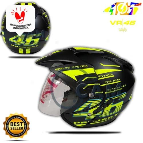 Foto Produk Helm KNC 2 kaca 46 Rossi Black doff yellow dari Boss helm