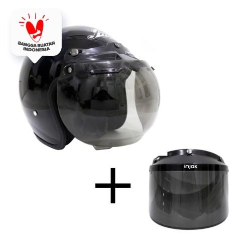 Foto Produk Helm Bogo Retro Polos SNI Dan Kaca Datar dari JMC Helmet