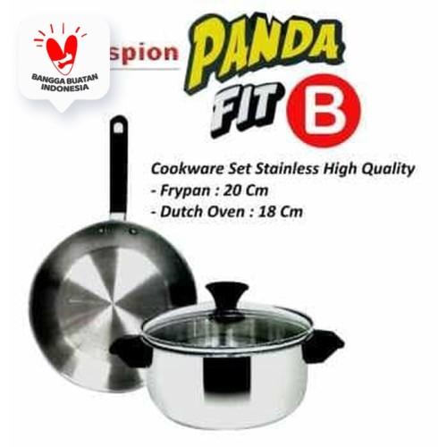 Foto Produk Maspion Panda Set Fit B Dutch Oven 18cm + Frypan 20cm Stainless Set dari Home-klik