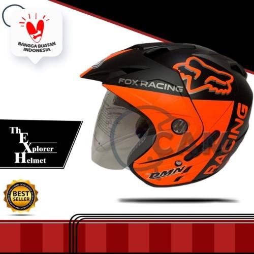 Foto Produk Helm 2 kaca fox black doff orange double visor dari Boss helm