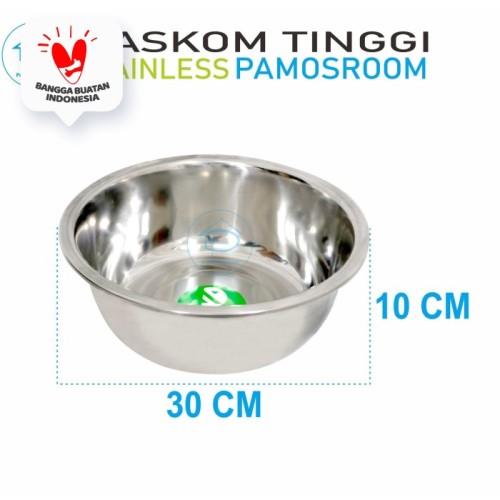 Foto Produk Komodo Baskom Tinggi 30 Cm Stainless Steel 30cm Mixing Bowl Baskom dari Pamosroom Living