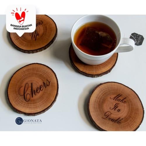 Foto Produk Engraved Wood Coaster / Slice Kayu /Potongan Kayu / Alas Gelas/Cangkir dari Dekornata