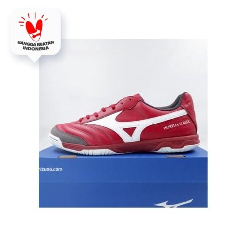 Foto Produk Sepatu Futsal Mizuno Morelia Sala Classic IN Biking Red Q1GA200201 Ori - 44 dari KING OF DRIBBLE