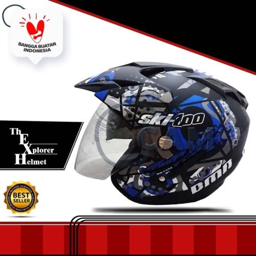 Foto Produk Helm DMN double visor Skidoo Biru doff bukan BXP KYT INK GM NHK JPN dari Boss helm