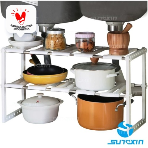 Foto Produk Rak Panci Bawah Wastafel / Kitchen Rack Tempat Bumbu / Rak 2 Tingkat dari SUNXIN