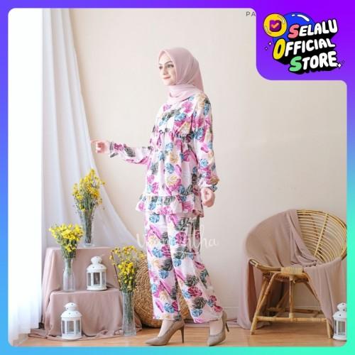 Foto Produk Pajamas Set Rayon Tropicana Rempel BUSUI|Tangan panjang,Celana panjang - Pink dari Beli Mukena