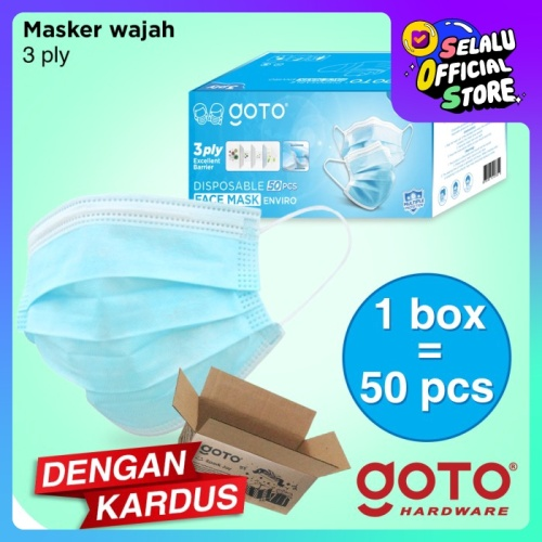Foto Produk Goto Enviro 50 Pcs 3ply Facemask Masker Earloop Kesehatan dari GOTO Hardware